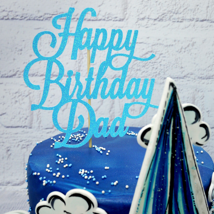 Blue Glitter 'Happy Birthday Dad' Cake Topper - image 2