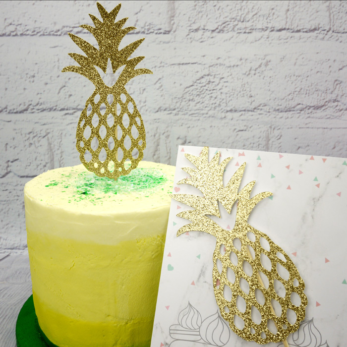 Gold Glitter Pineapple Cake Topper - image 2