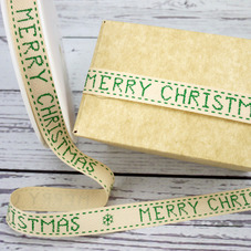 Cream Ribbon With Green Stitching & Wording 'Merry Christmas' - image 2