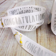 Congratulations White Satin Ribbon (25mm) - image 2