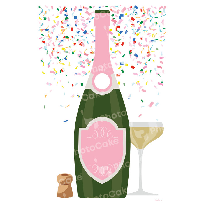 PhotoCake Pink Champagne Bottle Topper (NO PHOTO) - image 3