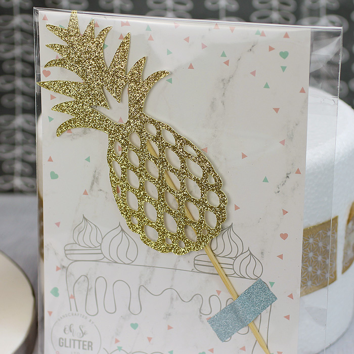 Gold Glitter Pineapple Cake Topper - image 3