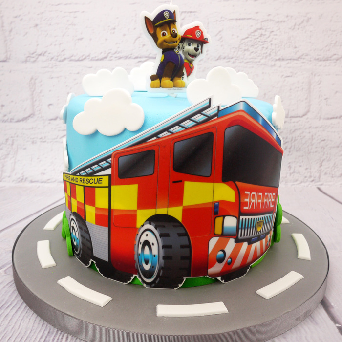 Awesome Edible Print Fire Engine Cake Topper Personalised Birthday Cards Arneslily Jamesorg